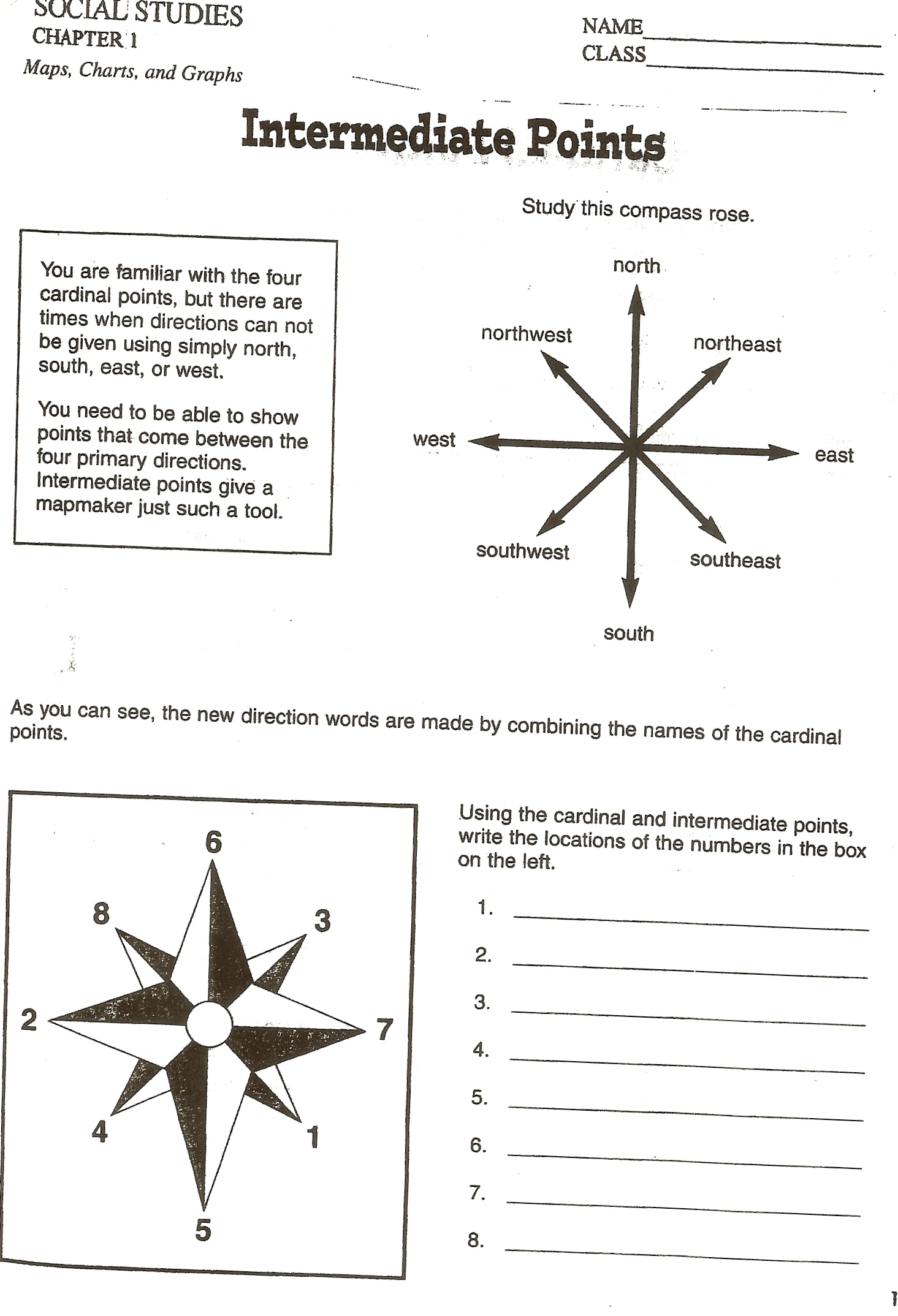 Social Studies Skills – Directions Worksheet